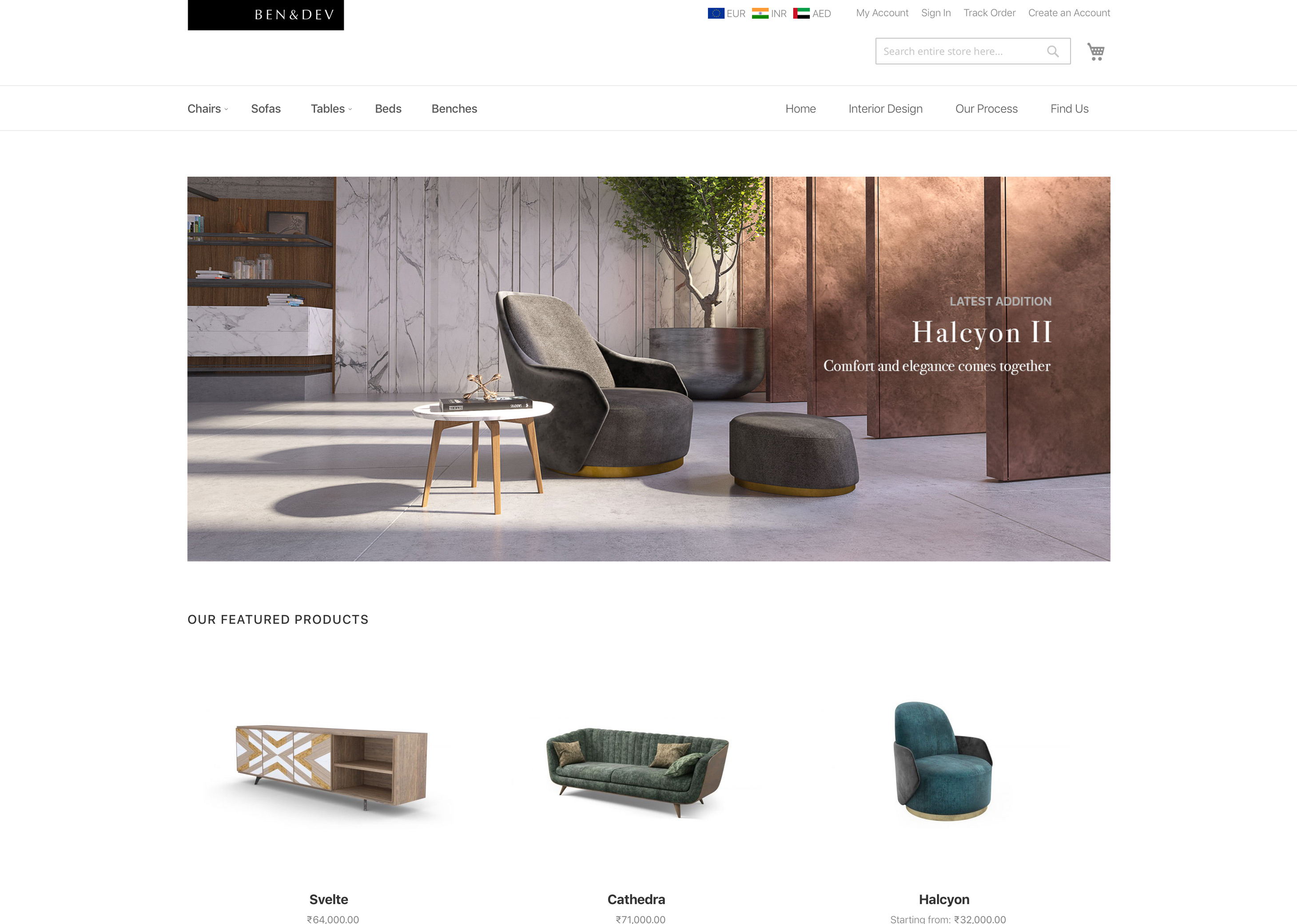 eCommerce for boutique furniture manufacturer - Ben & Dev
